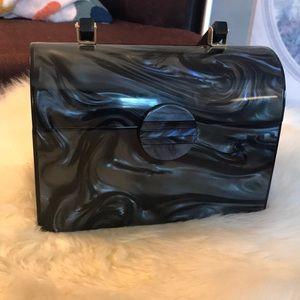 Saddle River Black Swirl Box Purse